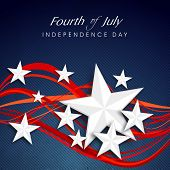 Shiny silver stars and red waves on blue background for 4th of July, American Independence Day celebrations.