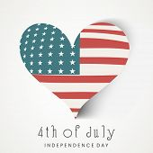Stylish heart shape covered with national flag on blue background for 4th of July, American Independ