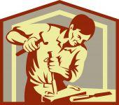 carpenter at work chiseling