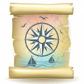 Scroll with vintage compass design and boats