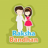 Beautiful greeting card design for the Raksha Bandhan festival with cute little girl tying rakhi on