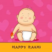 Cute little baby with rakhi on pink and yellow background for the festival of Happy Rakhi.