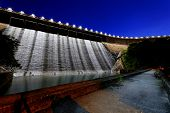 Dam at night and discharge flood water, hong kong