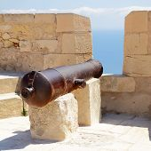 Old cannon in Santa Barbara fortress, Alicante, Spain