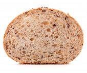Slice of fresh white grained bread isolated on white background cutout