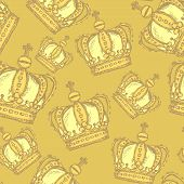 Sketch Crown, Vector Vintage Seamless Pattern