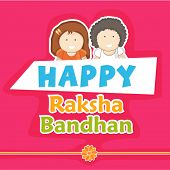 Stylish greeting card design for Happy Raksha Bandhan celebrations with happy cute little brother an