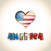 Glossy heart shape design with America on beige background for 4th of July, American Independence Da