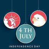 Hanging sticker, tag or labels on blue background for 4th of July, American Independence Day celebra
