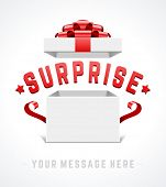 Open gift box and with red bow and ribbon vector background. Surprise message.