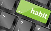 stock photo of  habits  - habit word on computer pc keyboard key - JPG