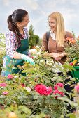 Two women talking about plants roses in garden center smiling