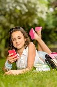 Teenage girl with pink mobile phone lying on grass summer