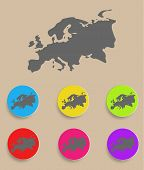 Europe Map - icon isolated. Vector