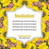 Invitation Over Yellow Flowers