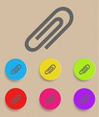 vector paper clip icons with color variations
