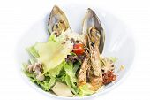 salad with vegetables and seafood