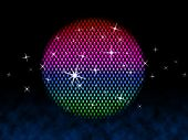 Colorful Ball Means Disco Stars And Lighting.