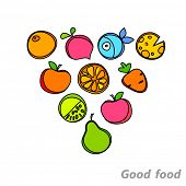 Healthy wholesome food - fruit, vegetables, fish. Vector design.