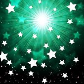 Green Sky Background Shows Radiance Stars And Heavens.