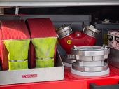 Valves And Hoses Of A Modern Dutch Fire Truck
