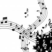 White Music Background Shows Classical Jazz And Tune.