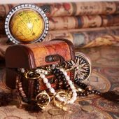 Antique Chest With Jewelry, Compass, Globe On antique Map