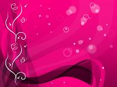Pink Floral Background Shows Flower Pattern And Bubbles.