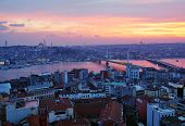 ISTANBUL, TURKEY - MARCH 12, 2014: Cityscape of Istanbul and Golden Horn bay during sunset. The Metr