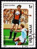 Postage Stamp Vietnam 1986 Soccer Players In Action