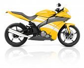 3D Image of a Yellow Modern Motorbike