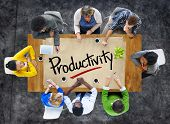 stock photo of productivity  - People in a Meeting and Single Word Productivity - JPG