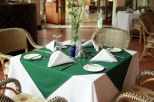 stock photo of table manners  - photograph of restaurant table setup ready to use - JPG