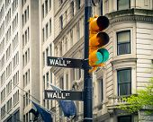 Street signs of Wall street in New York City