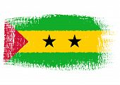 Brushstroke Flag Sao Tome And Principe