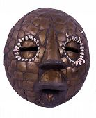 image of african mask  - Round african mask from Nigeria Yoruba people made from mud and decorated with bronze and shells isolated on white