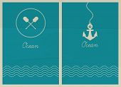 Vector ocean. Hipster web media backdrop. Badge label over sea background. Editable. Unfocused. Ocean