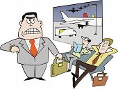 Cartoon of businessmen delayed at airport
