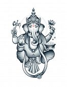 Постер, плакат: Hindu elephant head deity Ganesha the patron of arts and sciences