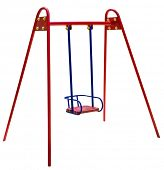 stock photo of tire swing  - metal baby swing isolated over white - JPG