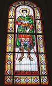 Stained glass window depicting great martyr Demetrius of Thessalonica.