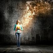 image of fumes  - Young girl holding bucket with flying out fume - JPG