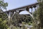 Historic Colorado Blvd bridge in Pasadena, California.