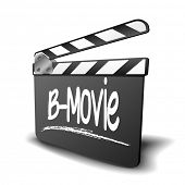 detailed illustration of a clapper board with B-Movie term, symbol for film and video genre, eps10 vector