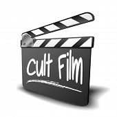 detailed illustration of a clapper board with Cult Film term, symbol for film and video genre, eps10 vector