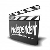 detailed illustration of a clapper board with independent term, symbol for film and video genre, eps