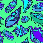 Vector seamless pattern with vibrant hand drawn seashells