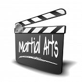 detailed illustration of a clapper board with Martial Arts term, symbol for film and video genre, ep
