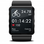 detailed illustration of a smartwarch with fitness app with heart rate monitor, distance and timer,