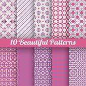 10 Beautiful vector seamless patterns (tiling). Pink, purple